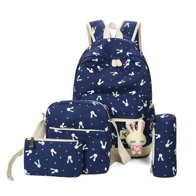 Bunny School Bag Set - blue