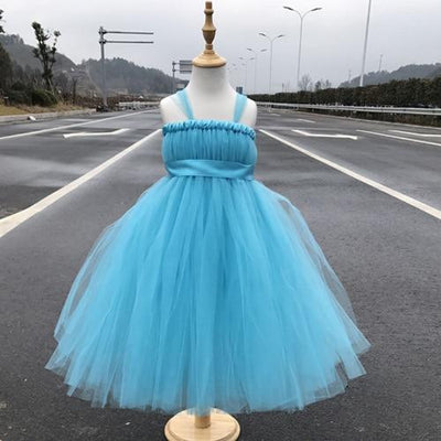 Sleeveless Bow Tulle Dress - blue / 2T