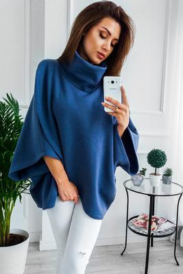 Asymmetrical Turtleneck Sweater - blue / S