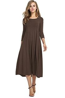 Casual 3/4 A-Line Dress - brown / S