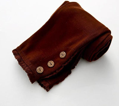 Lace Cotton Leggings - brown / 2T
