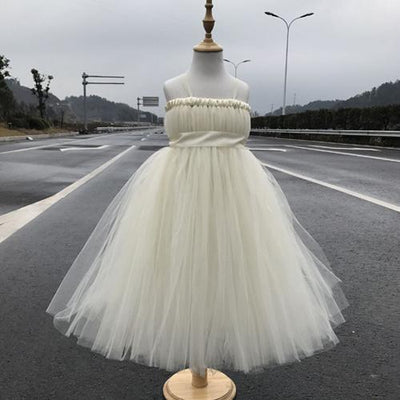 Sleeveless Bow Tulle Dress - champagne / 2T