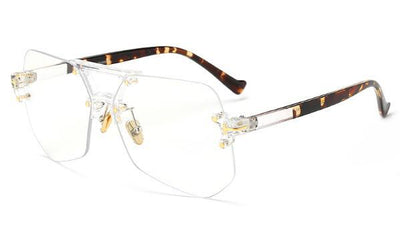 Clear Eyeglasses - clear with leopard