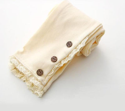 Lace Cotton Leggings - cream / 2T