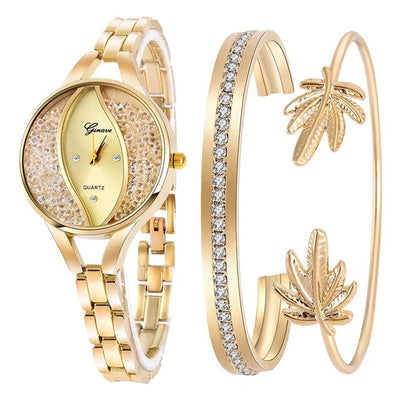 Women Flow Sand Diamond Bracelet Watch - Gold