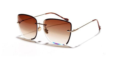 Kiara Rimless Sunglasses - Brown