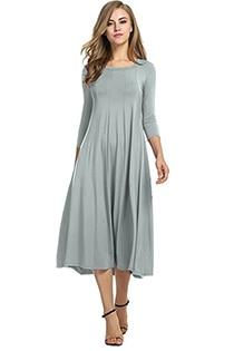 Casual 3/4 A-Line Dress - gray / S