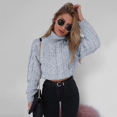 Sexy Turtleneck Crop Sweater - gray / S