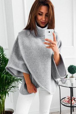 Asymmetrical Turtleneck Sweater - gray / S
