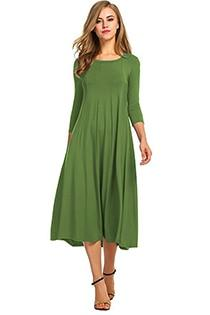 Casual 3/4 A-Line Dress - green / S