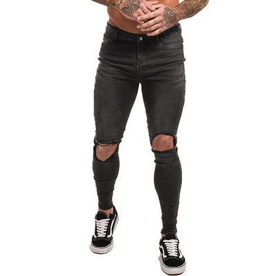 Slim-Fit Ripped Jeans - grey knee hole / 28