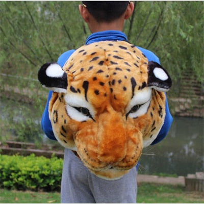 Plush 3D Animal Head Backpack - leopard