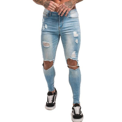 Slim-Fit Ripped Jeans - light blue hole / 28