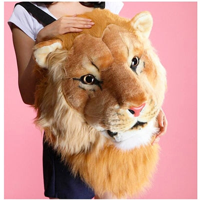 Plush 3D Animal Head Backpack - lion