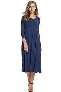 Casual 3/4 A-Line Dress - navy blue / S