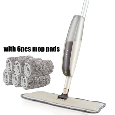 Spray Floor Mop with Reusable Microfiber Pads - one mop 6 mop cloth