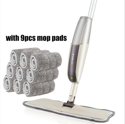 Spray Floor Mop with Reusable Microfiber Pads - one mop 9 mop cloth
