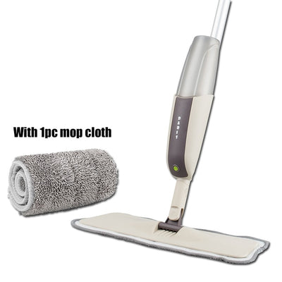 Spray Floor Mop with Reusable Microfiber Pads - one mop