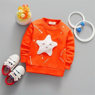 Cute Star Pullover - orange / 2T