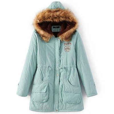 Plus Size Fur Winter Coat - pea green / S