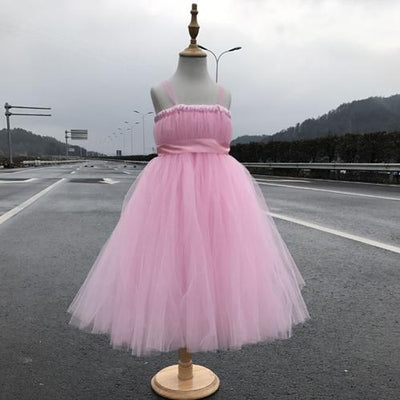 Sleeveless Bow Tulle Dress - pink / 2T