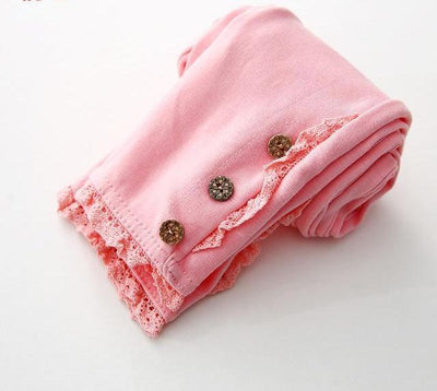 Lace Cotton Leggings - pink / 2T