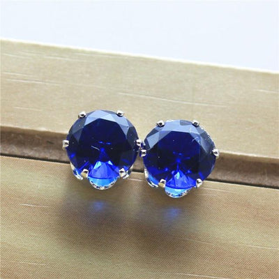 Imitation Zircon Stud Earrings - platinum blue