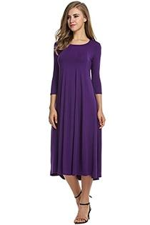 Casual 3/4 A-Line Dress - purple / S