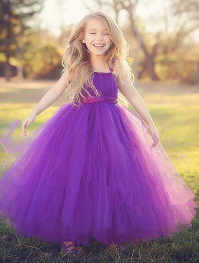 Sleeveless Bow Tulle Dress - purple / 2T