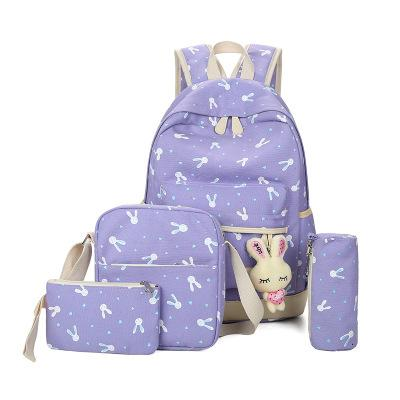 Bunny School Bag Set - purple