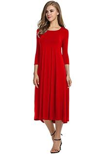 Casual 3/4 A-Line Dress - red / S