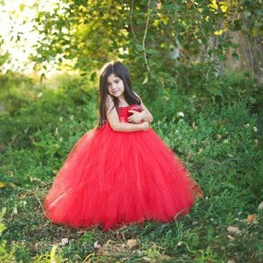Sleeveless Bow Tulle Dress - red / 2T