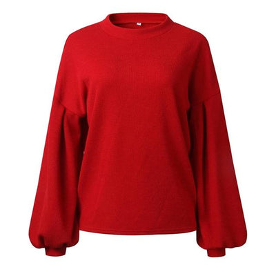 Knit Lantern Sleeves Sweater - red / S