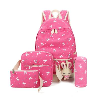Bunny School Bag Set - red