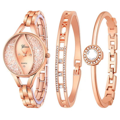 Women Flow Sand Diamond Bracelet Watch - Rose