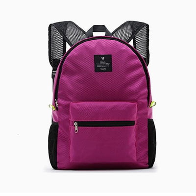 Waterproof School Backpack - rose red