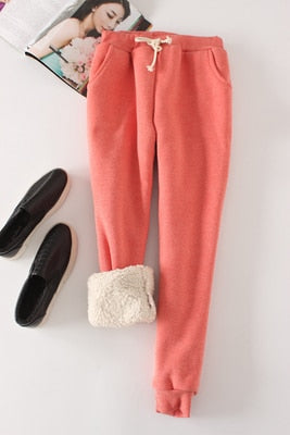 Candy Color Warm Jogger Pants - rose red / M