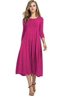 Casual 3/4 A-Line Dress - rose red / S
