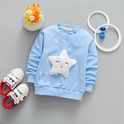 Cute Star Pullover - sky blue / 2T