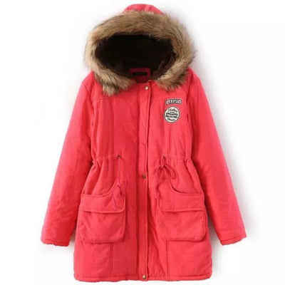 Plus Size Fur Winter Coat - watermelon red / S