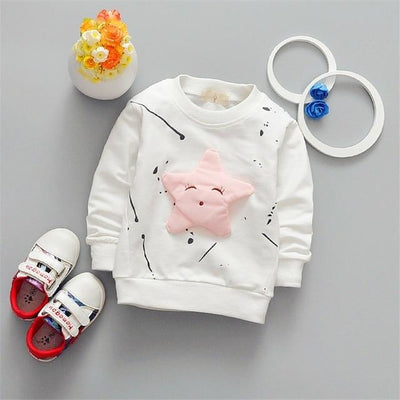 Cute Star Pullover - white / 2T
