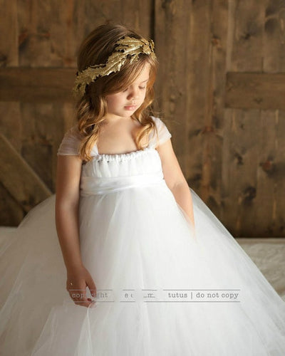 Sleeveless Bow Tulle Dress - white / 2T