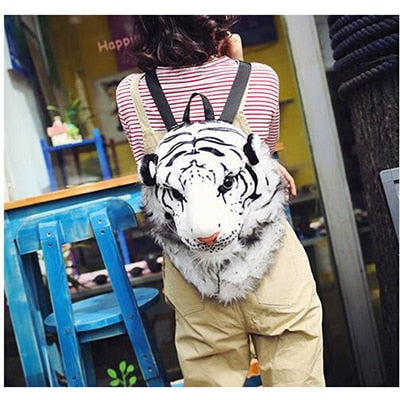 Plush 3D Animal Head Backpack - white small