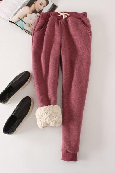 Candy Color Warm Jogger Pants - wine red / M