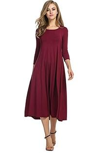 Casual 3/4 A-Line Dress - wine red / S