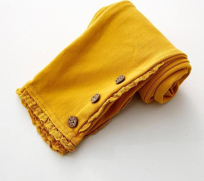 Lace Cotton Leggings - yellow / 2T