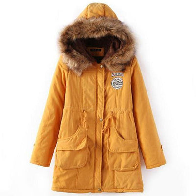 Plus Size Fur Winter Coat - yellow / S