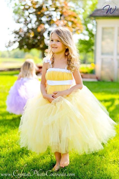 Sleeveless Bow Tulle Dress - yellow / 2T
