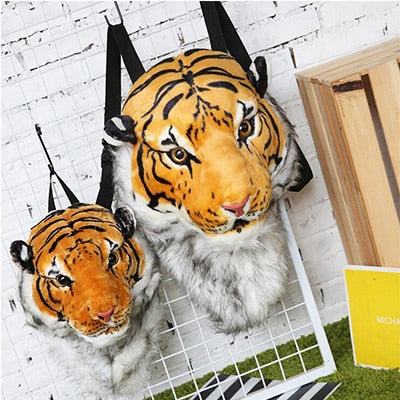 Plush 3D Animal Head Backpack - yellow small