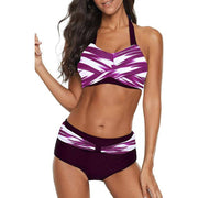 Striped High Waisted Push Up Halter Bikini Set
